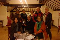 Quiz Mistress Jane Evison presenting the trophy to the Frozen Assets representing New Barn Livery, Ollerton - the winners of this year's quiz